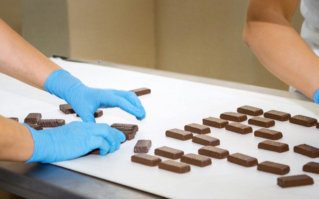 Guantes de nitrilo azul para la industria alimentaria